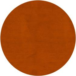Hand-knotted Long Island Rust Plush Wool Rug (8' Round)