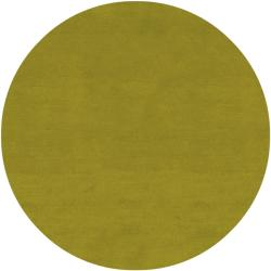 Hand-knotted Long Island Lime Plush Wool Rug (8' Round) - Thumbnail 1