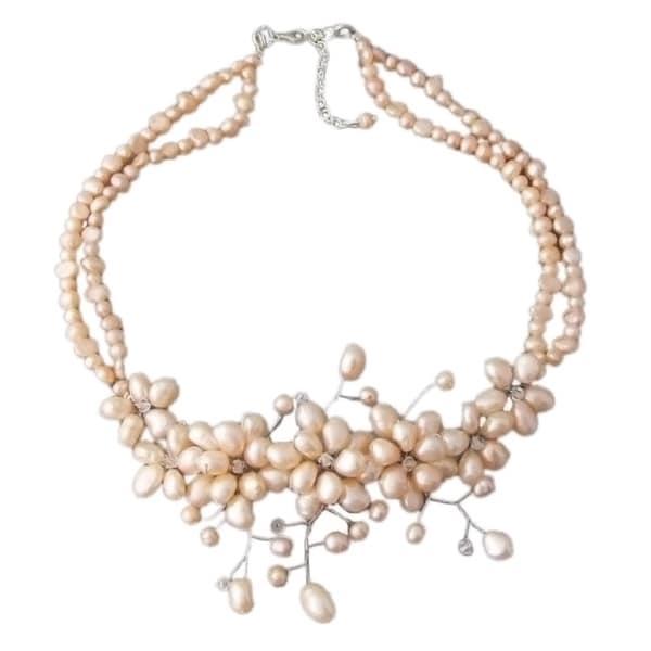 Handmade Sterling Silver Freshwater Pearl 'Sakura' Necklace (Thailand)