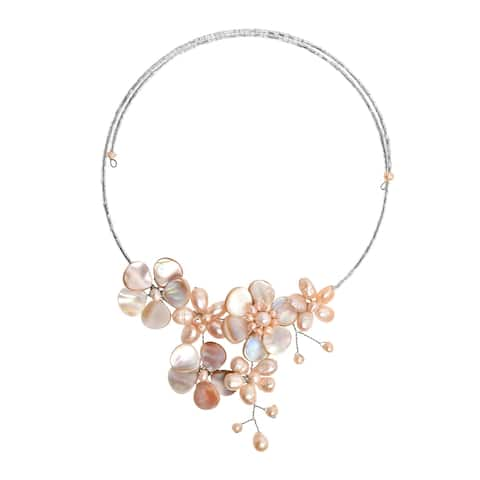 Handmade Garden of the Ocean Pink Pearl and Seashell Floral Bouquet Choker Necklace (Thailand)