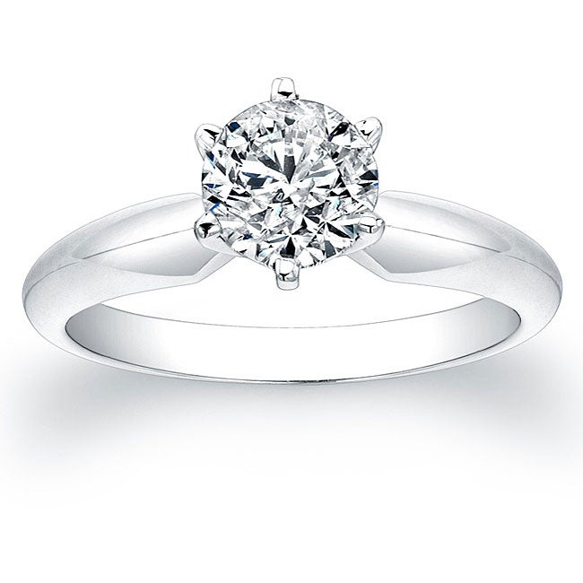 14k White Gold 1ct TDW Certified Diamond Solitaire Engagement Ring - Thumbnail 0