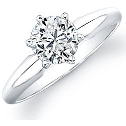 14k White Gold 1ct TDW Certified Diamond Solitaire Engagement Ring - Thumbnail 1