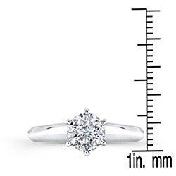 14k White Gold 1ct TDW Certified Diamond Solitaire Engagement Ring - Thumbnail 2