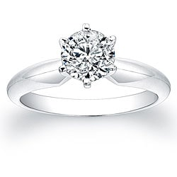 14k White Gold 1ct TDW Certified Diamond Solitaire Engagement Ring