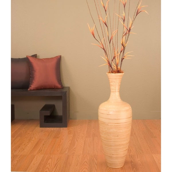 Shop Natural Bamboo 25-inch Floral-optional Floor Vase - Free ... on carpet runners for floor, glass for floor, lamps for floor, cushions for floor, rugs for floor, lights for floor, pillows for floor, sculpture for floor, mats for floor, tiles for floor, puzzles for floor,