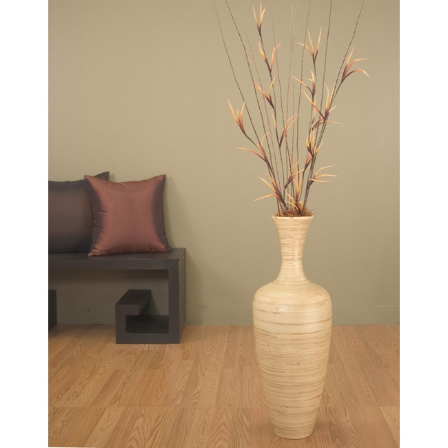 Natural Bamboo 25-inch Floral-optional Floor Vase