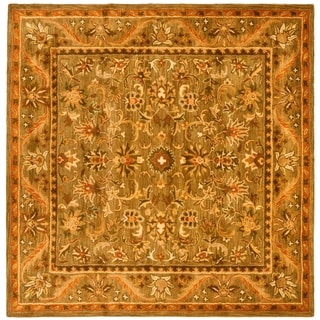 Safavieh Handmade Antiquities Kasadan Olive Green Wool Rug (6' Square)