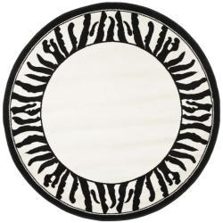 Safavieh Lyndhurst Contemporary Zebra Border Black/ White Rug (5' 3 Round)