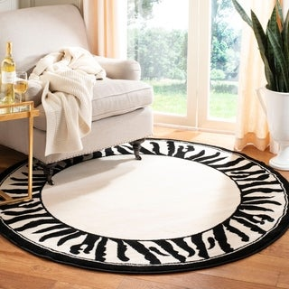 Safavieh Lyndhurst Contemporary Zebra Border Black/ White Rug (5' 3 Round)