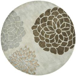 Safavieh Handmade Soho Botanical Light Grey N. Z. Wool Rug (8' Round)