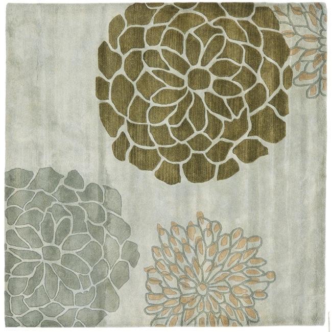 Safavieh Handmade Soho Botanical Light Grey N. Z. Wool Rug (6' Square)