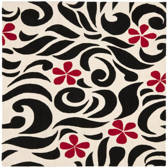 Safavieh Handmade Soho Floral Ivory New Zealand Wool Rug (6' Square)