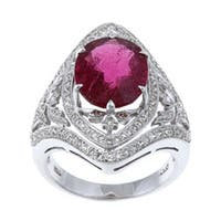 Pre-owned 18k White Gold Rubalite and 1 3/4ct TDW Diamond Estate Ring (I-J, SI1-SI2) - Red