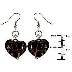 Murano-inspired Glass Black and Copper Heart Earrings