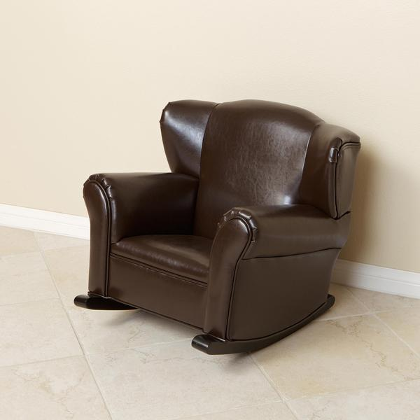 Bonded Leather Brown Kids Rocking Chair