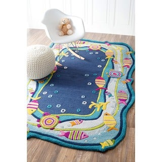 nuLOOM Hand-carved Kids Aqua Fish and Bubbles Blue Wool Rug (3'6 x 5'6)