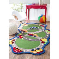 nuLOOM Green Hand-carved Kids Cars & Trucks Roadway Wool Area Rug