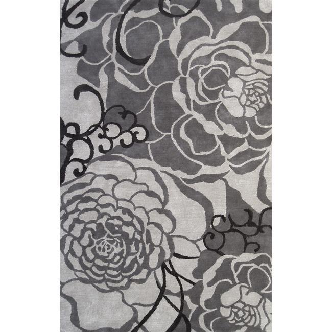 nuLOOM Handmade Prive Grey Rose Pattern Floral Wool Rug (5' x 8')