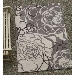 nuLOOM Handmade Prive Grey Rose Pattern Floral Wool Rug (5' x 8') - Thumbnail 1