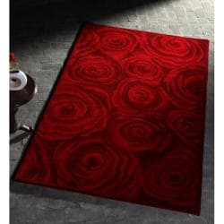 Nuloom Handmade Amp Hand Carved Prive Red Rose Wool Rug 5