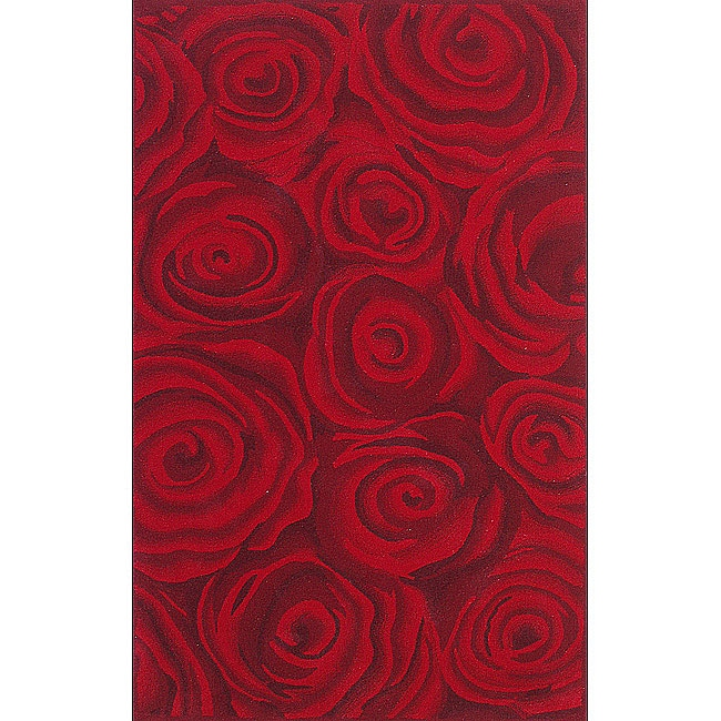 nuLOOM Handmade & Hand-carved Prive Red Rose Wool Rug (5' x 8') - Thumbnail 0