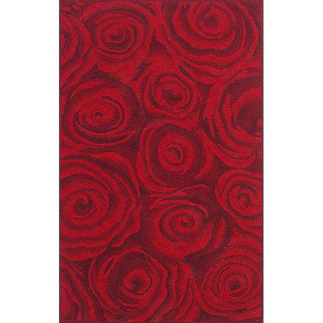 nuLOOM Handmade & Hand-carved Prive Red Rose Wool Rug (7'6 x 9'6)