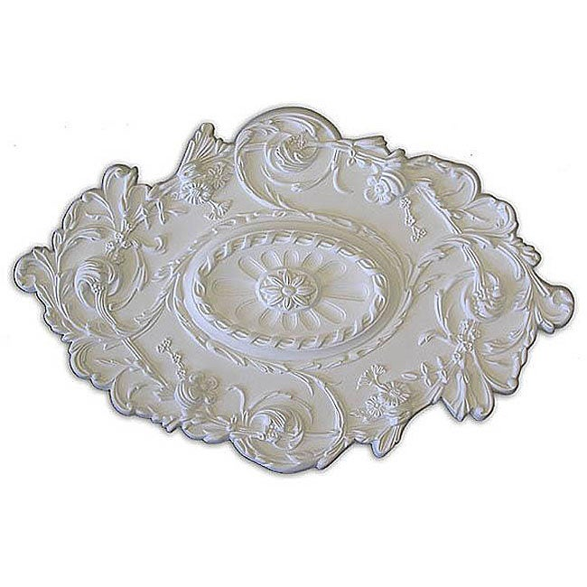 Leaves Flower and Rope Embossed 30.5x20-in Ceiling Medallion
