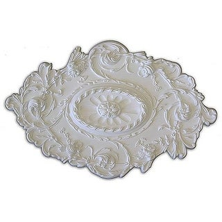 Leaves Flower and Rope Embossed 30.5x20-in Ceiling Medallion - White
