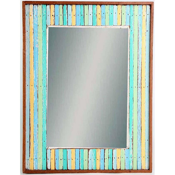 Handmade Woodstriped Beauty Mirror (Thailand)