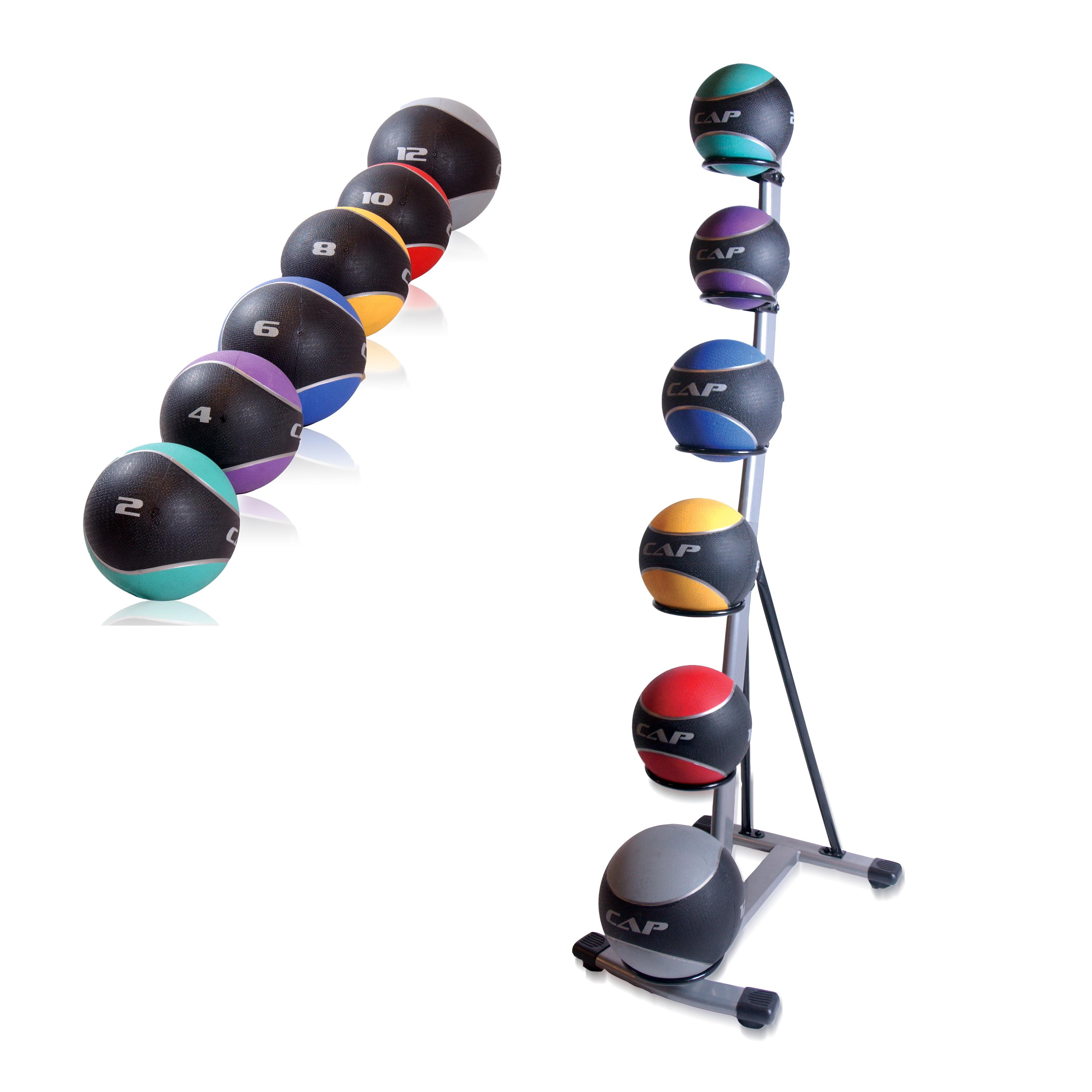 CAP Barbell Medicine Ball Set with Spinal Rack - Thumbnail 0
