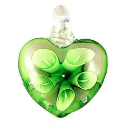 Murano Inspired Glass Green Lily Flower Heart Pendant