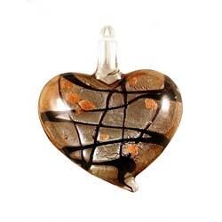 Murano-inspired Glass Amber Brown Heart Pendant