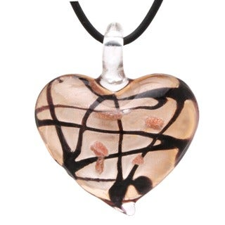Murano-inspired Glass Amber Brown Heart Pendant