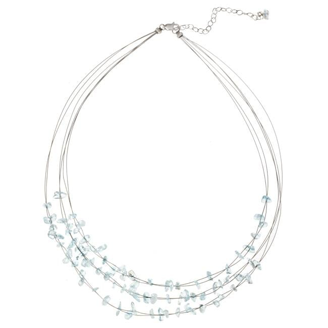 Glitzy Rocks Sterling Silver Blue Topaz Chip 3-row Necklace - Thumbnail 0