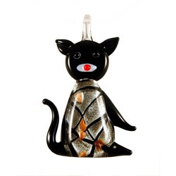 Murano Inspired Glass Black and Silver Kitty Cat Pendant