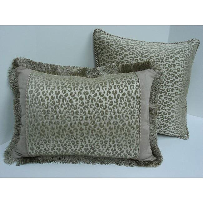 Cheetah Print Decorative Taupe Pillows (Set of 2) - Thumbnail 0