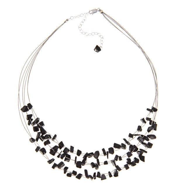 Glitzy Rocks Sterling Silver Onyx Chip 3-row Necklace - Thumbnail 0