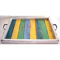 Handmade Recycled Wood Medium Multicolor Serving Tray (Thailand)