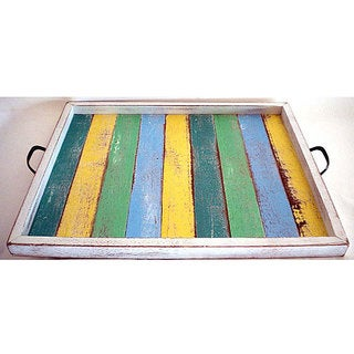 Handmade Large Multi-colored Recycled Wood Serving Tray (Thailand)