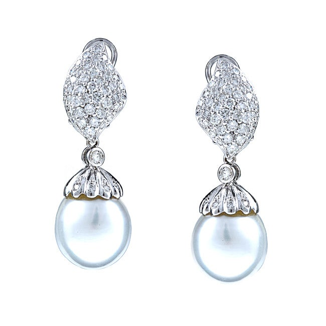 0a3566a480dbd Kabella 18K White Gold Estate Vintage South Sea Pearl and 1 7/8ct TDW  Diamond Earrings (13 mm) (H-I, SI2)