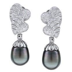 Kabella 18k White Gold Estate VintageTahitian Pearl and 7/8ct TDW Diamond Earrings (11 mm) (H-I, SI2)