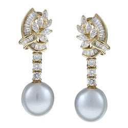 Kabella 18K Yellow Gold South Sea Pearls and 1 1/3ct TDW Diamond Earrings (11 mm) (H-I, SI2)