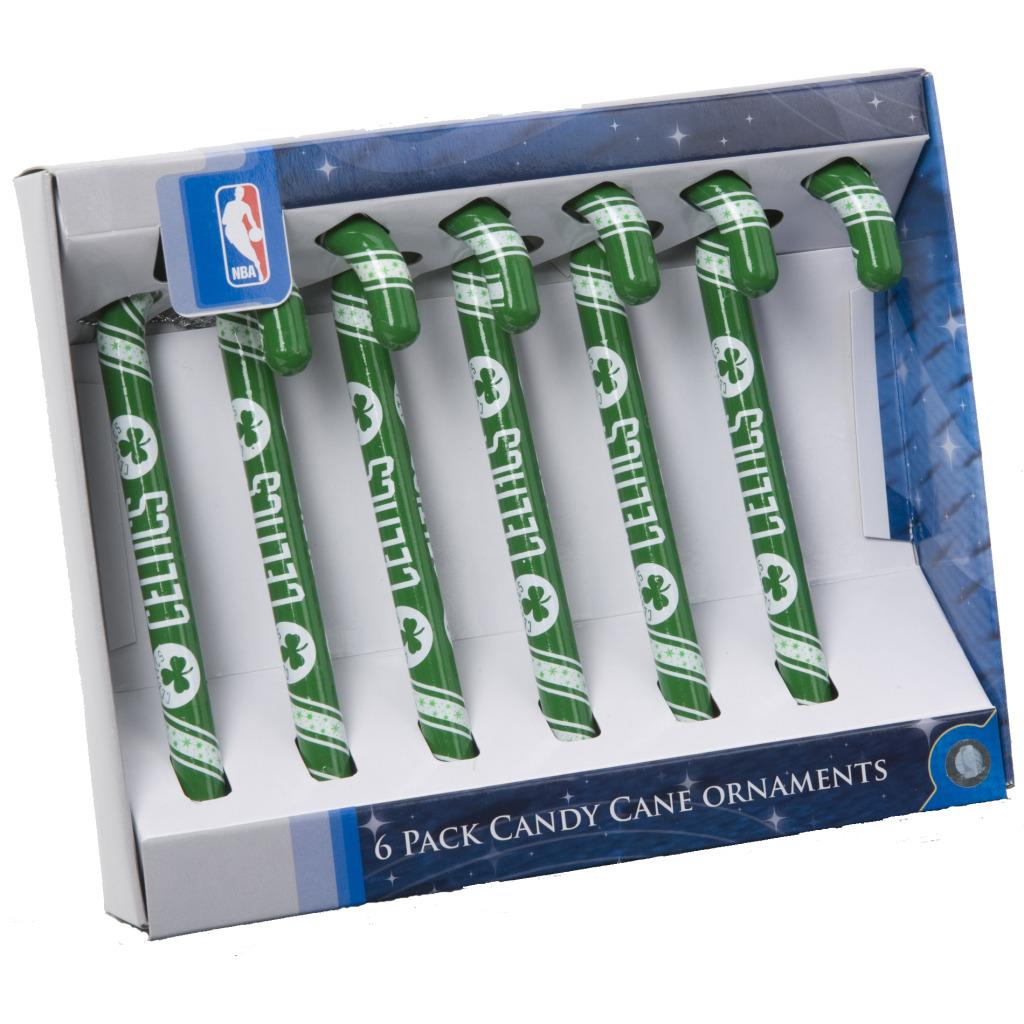 Boston Celtics Plastic Candy Cane Ornament Set