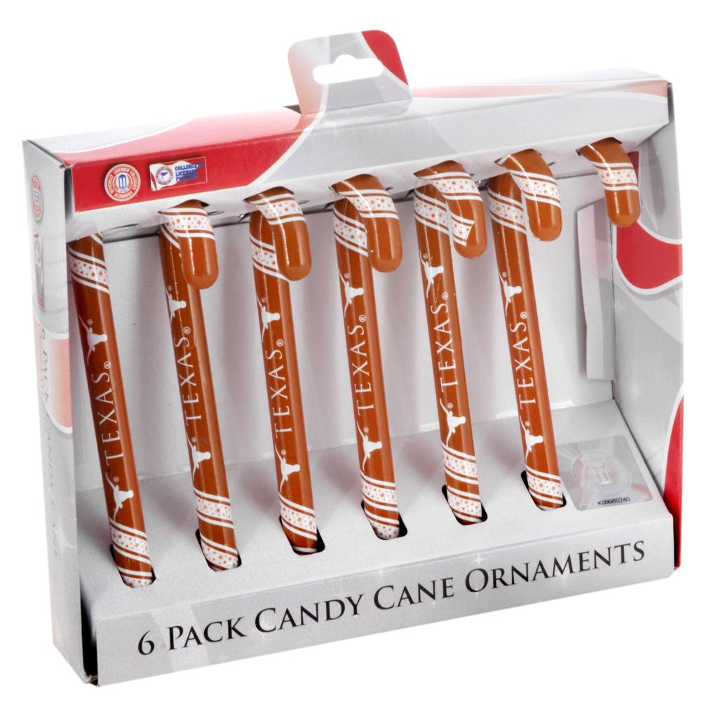Texas Longhorns Plastic Candy Cane Ornament Set