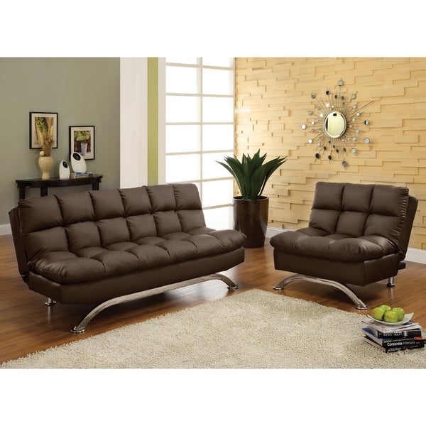 Furniture of America Deep Cushion 2-piece Dark Espresso Sofa/ Sofabed and Chair