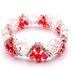 Crystal and Rhinestone Red Stretch Bracelet