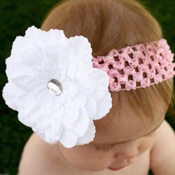 Headbandz Unique White Flower with Headband - Thumbnail 1