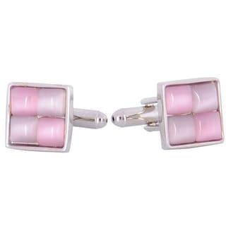 Cuff Daddy Silvertone Pink and Purple Enamel Checker Cuff Links