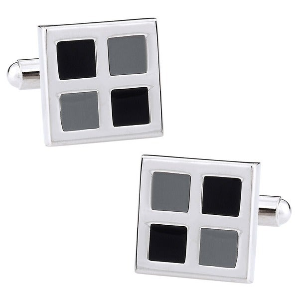 Cuff Daddy Silvertone Monochromatic Checker Cuff Links