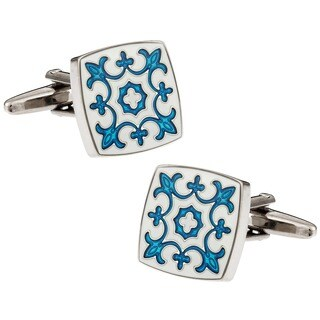 Cuff Daddy Blue and White Fleur de Lis Cuff Links